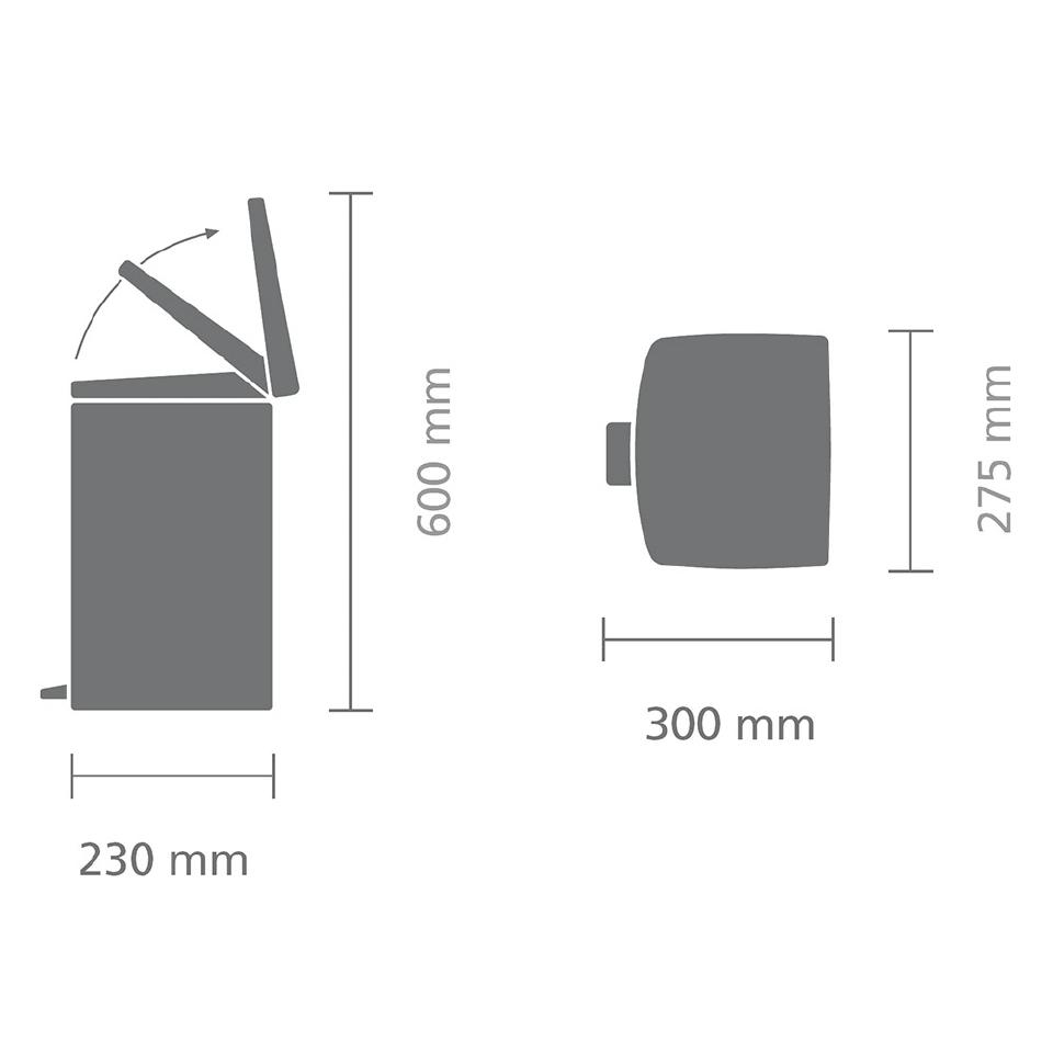 Прямоугольный мусорный бак  (10л), Матовая сталь, арт. 395642 - фото 1