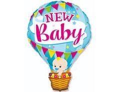 F Фигура, Шар воздушный голубой, new baby, 36