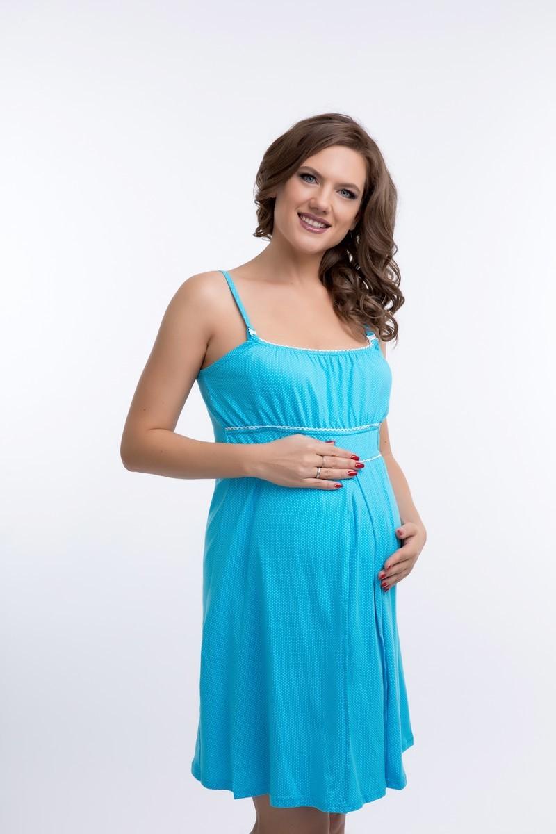 Ночная сорочка для беременных и кормящих 09616 голубой