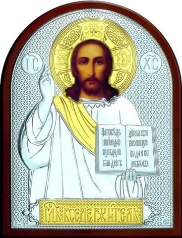Серебряная с золочением икона Иисуса Христа Спасителя 16х12см