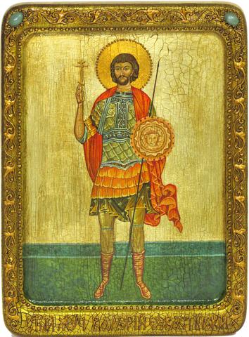 Живописная инкрустированная икона Святой мученик Валерий Севастийский 29х21см на кипарисе в подарочной коробке