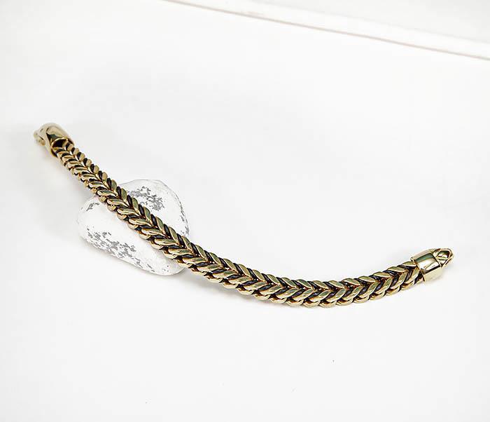 BM525-2 Золотистый стальной браслет с кожаным шнуром фото 02
