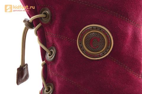Зимние сапоги для девочек из натуральной кожи на меху Лель, цвет малиновый. Изображение 15 из 16.