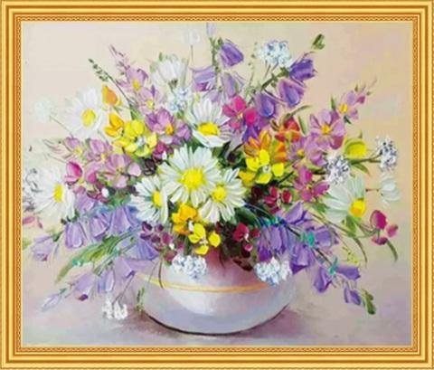 Алмазная Мозаика 50x65 Букет полевых цветов в вазе