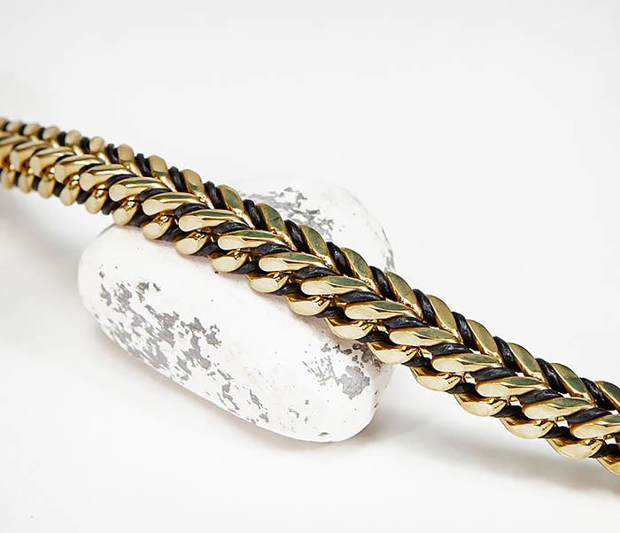 BM525-2 Золотистый стальной браслет с кожаным шнуром фото 03