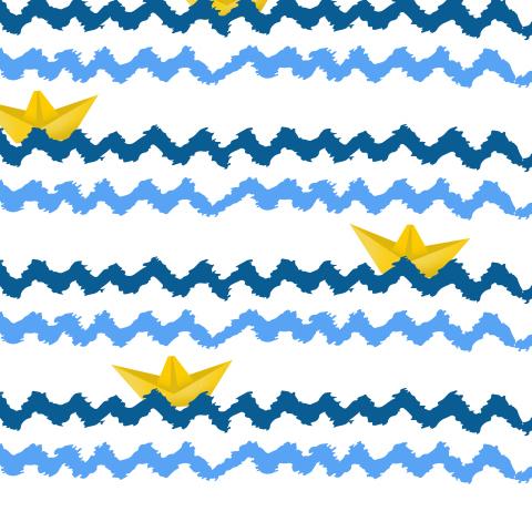 Жёлтый кораблик на волнах