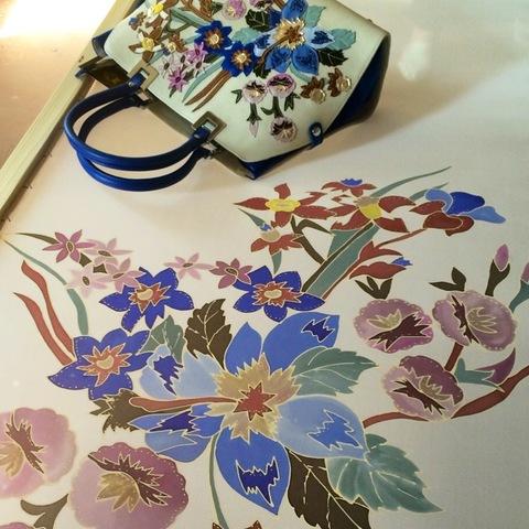 Шелковый палантин батик к сумке