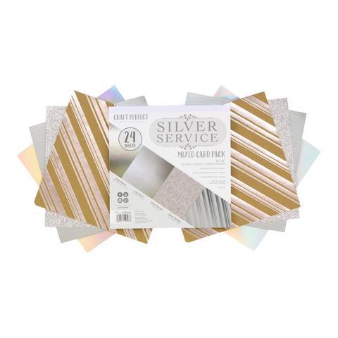 Набор односторонней  бумаги c глиттером 15х15 см -Craft Perfect Mixed Card Pack- Silver Service-24 л