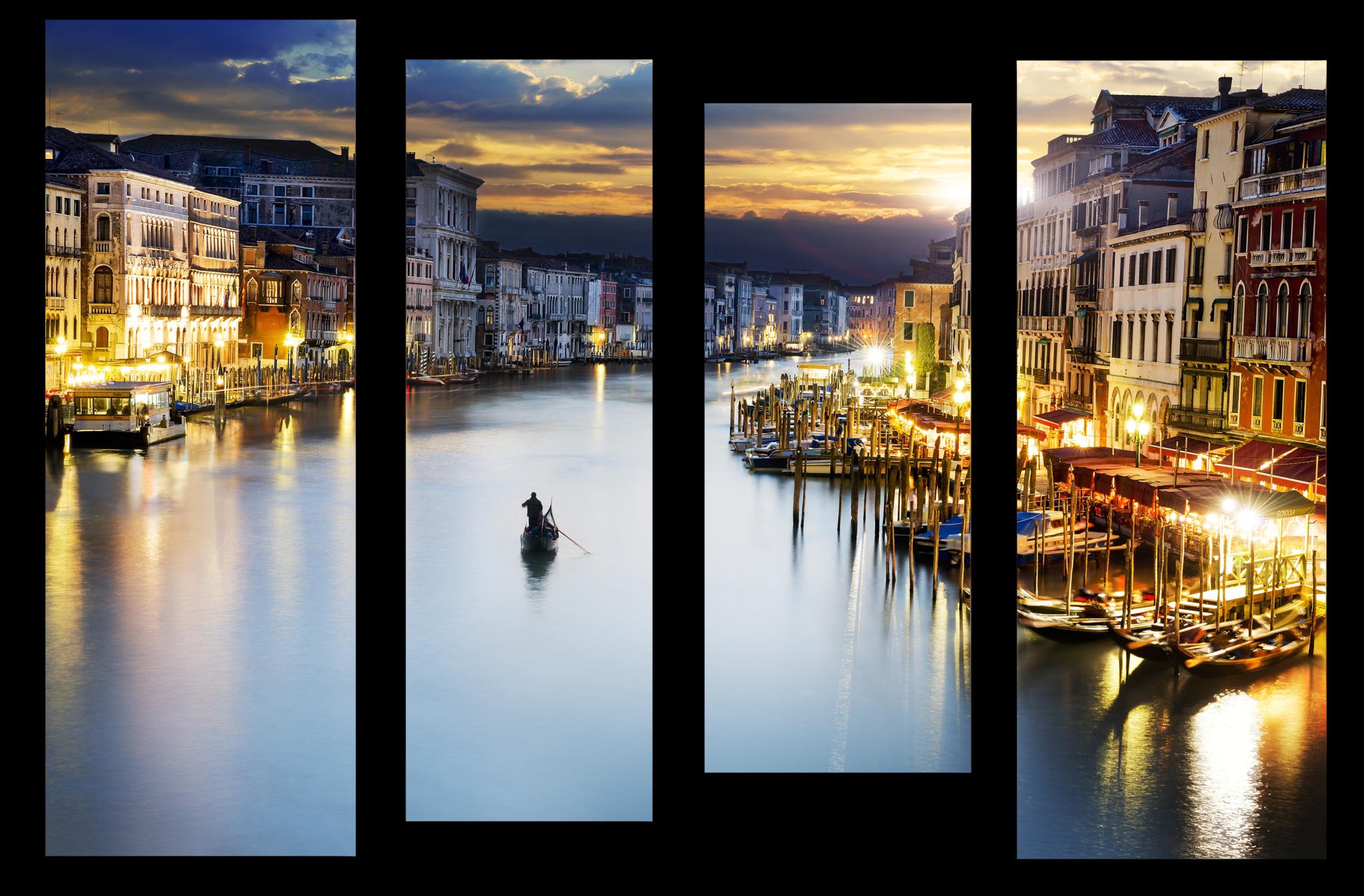 """Города Модульная картина """"Вечерняя Венеция"""" М1035_M_загибы_90х67.png"""