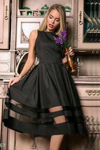 Платье с пышной юбкой, черное