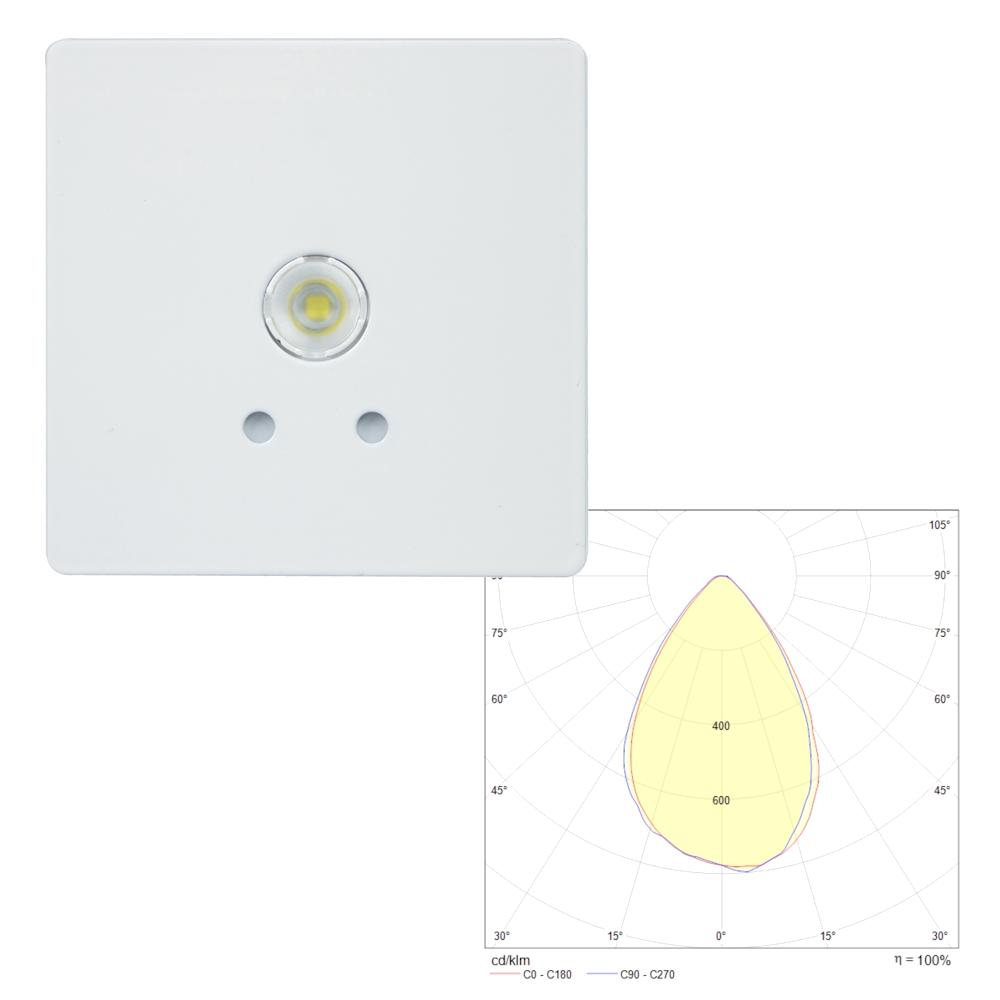 Встраиваемый квадратный потолочный светильник аварийного освещения SLIMSPOT II Zone MIDBAY Teknoware с резервным источником питания