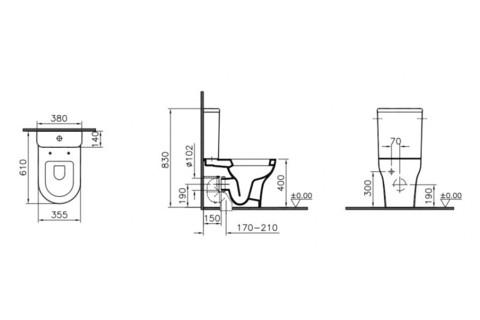 Унитаз c сиденьем микролифт VitrA Zentrum 9012B003-7202 схема