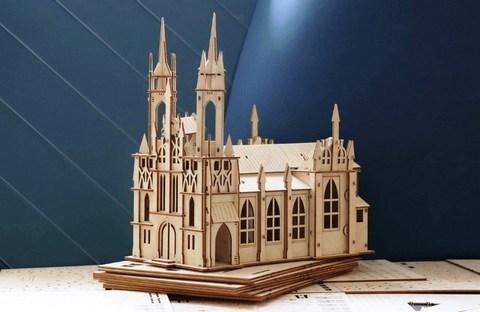 Католический костёл из Самары от UNIWOOD - Сборная модель, деревянный конструктор, 3d пазл