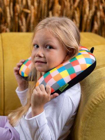 Подушка-подголовник «Клетчатый», разноцветная-2