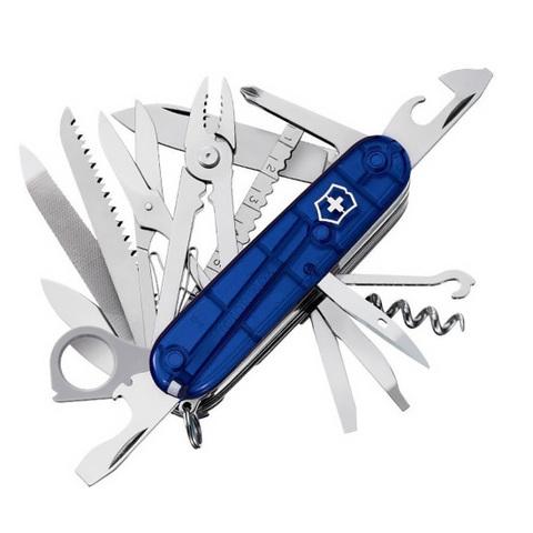 Нож Victorinox SwissChamp, 91 мм, 33 функции, полупрозрачный синий