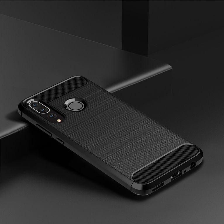 Чехол для Huawei P30 Lite (Nova 4E) цвет Black (черный), серия Carbon от Caseport