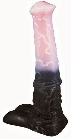 Черно-розовый фаллоимитатор  Мустанг large  - 43,5 см.