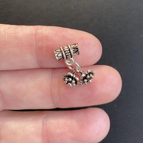 Подвеска Два цветка на бейле серебро 925 1 шт