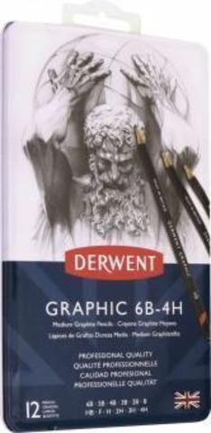 Набор чернографитных карандашей GRAPHIC MEDIUM 6B-4H 12шт., металлическая уп-ка