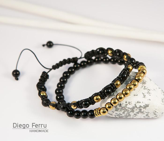 BS698 Комплект мужских браслетов из натурального камня, «Diego Ferru»