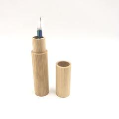 Телескопическая стальная трубочка для напитков в бамбуковом кейсе