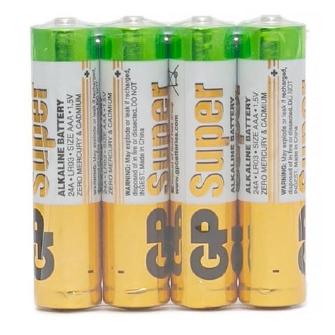 Батарейки GP Super мизинчиковые ААA LR03 (4 штуки в упаковке)