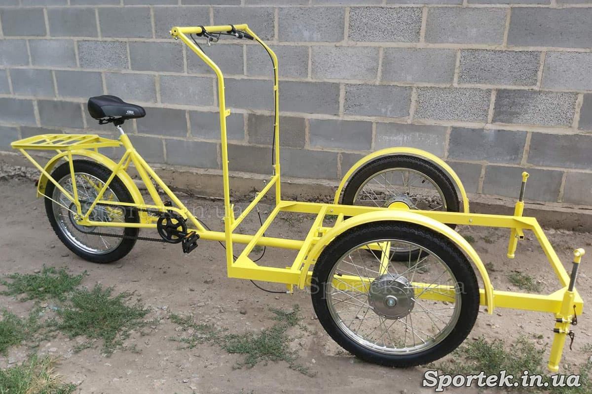 Трехколесный велосипед с передней платформой (грузоподъемность до 300 кг) для уличной торговли 'Арден' (желтый)