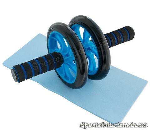 Ролик для пресса с двумя пластиковыми колесами 14,5 см (синий)