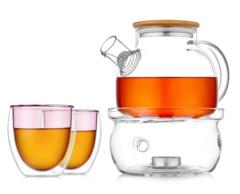 """Заварочный чайник с подогревом от свечи и розовые стаканы с двойными стенками - набор """"Бамбук LP-1"""""""