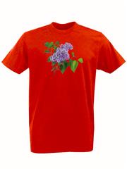 Футболка с принтом Цветы (Сирень) красная 002
