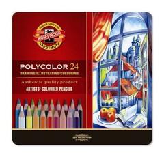 Набор художественных цветных карандашей POLYCOLOR 24 цвета в металлической коробке