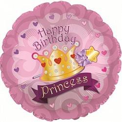 Фольгированный шар Круг, С Днем рождения (корона принцессы) 18