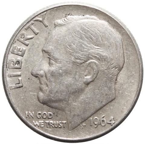 1 дайм (10 центов) 1964. США Серебро VF-XF