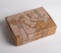 Коробка складная крафтовая «Карта», 21 × 15 × 5 см, 1 шт.