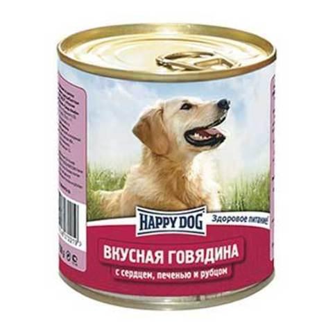 Happy Dog HAPPY DOG Консервы для собак с говядиной, сердцем, печенью и рубцом 9000 г. (750г.*12)