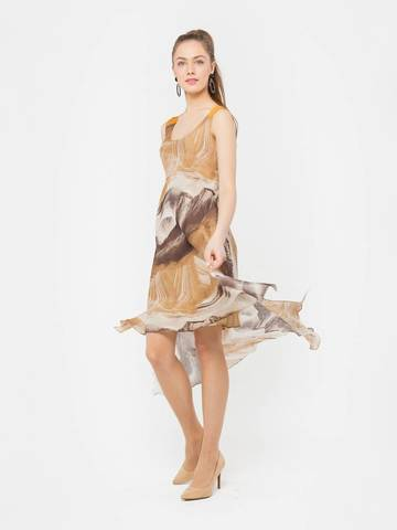 Фото льняное летнее платье с ассиметричным низом и разрезами - Платье З093-588 (1)