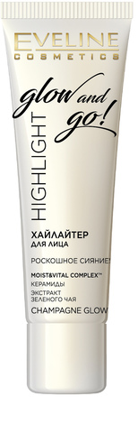 EVELINE GLOW AND GO  Хайлайтер для лица CHAMPAGNE GLOW, 20мл (*3*30)