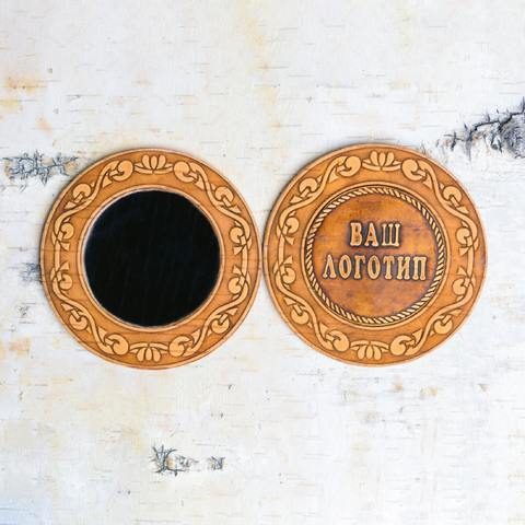 Зеркало с рамкой из бересты с вашим логотипом на фоне бересты