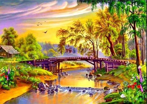 Алмазная Мозаика 50x65 Мост над рекой в нарисованном городке