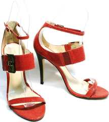 Элегантные босоножки с закрытой пяткой на каблуке Via Uno1103-6605 Red.