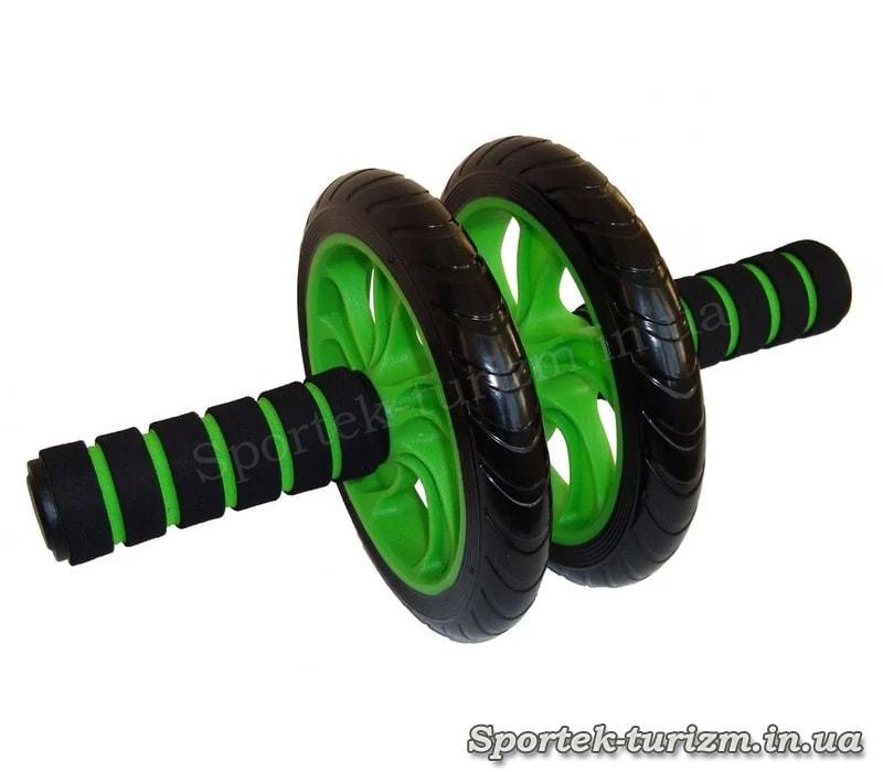 Ролик для пресса с двумя пластиковыми колесами 14,5 см (зеленый)