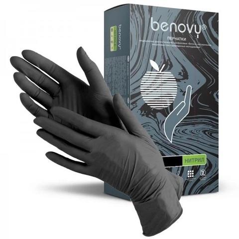 Перчатки нитриловые BENOVY черные XS 50 пар