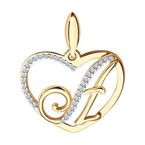 034649 - Подвеска-буква А в сердце из золота с фианитами