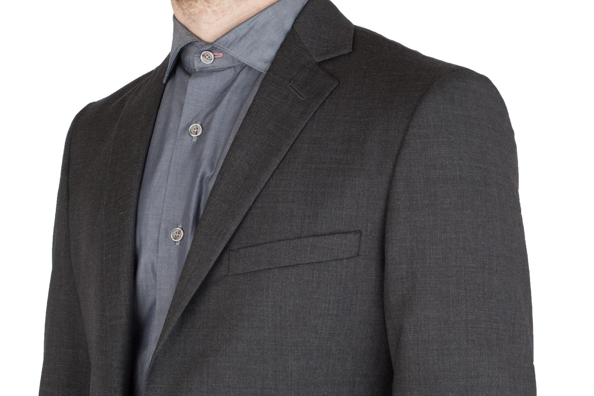 Тёмно-серый костюм из 100%-ной шерсти, нагрудный карман