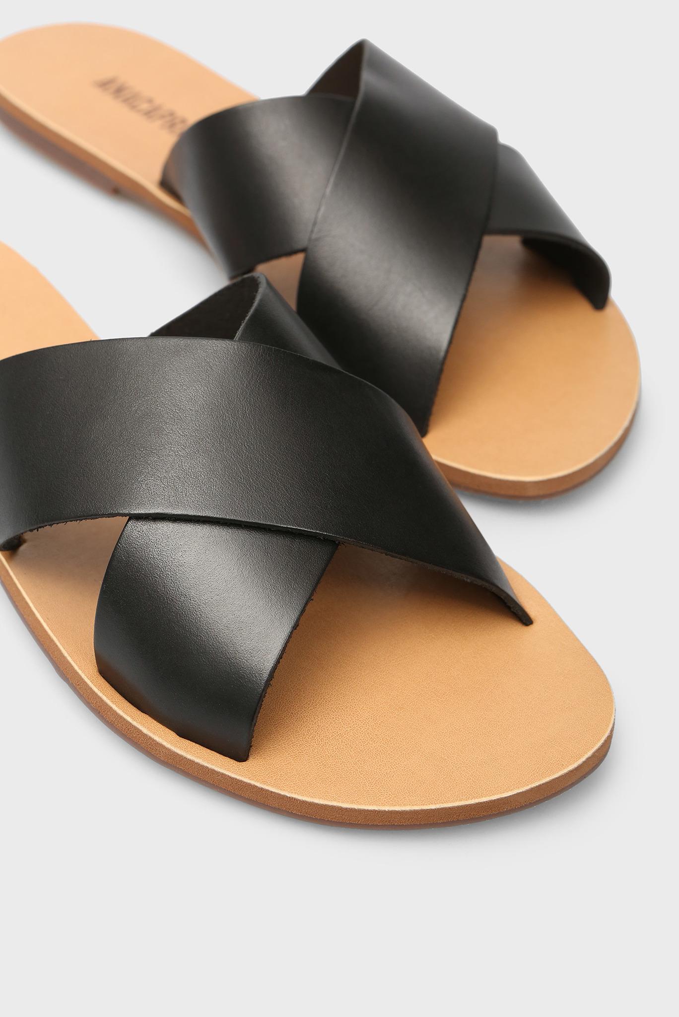 Женские черные кожаные мюли Anacapri