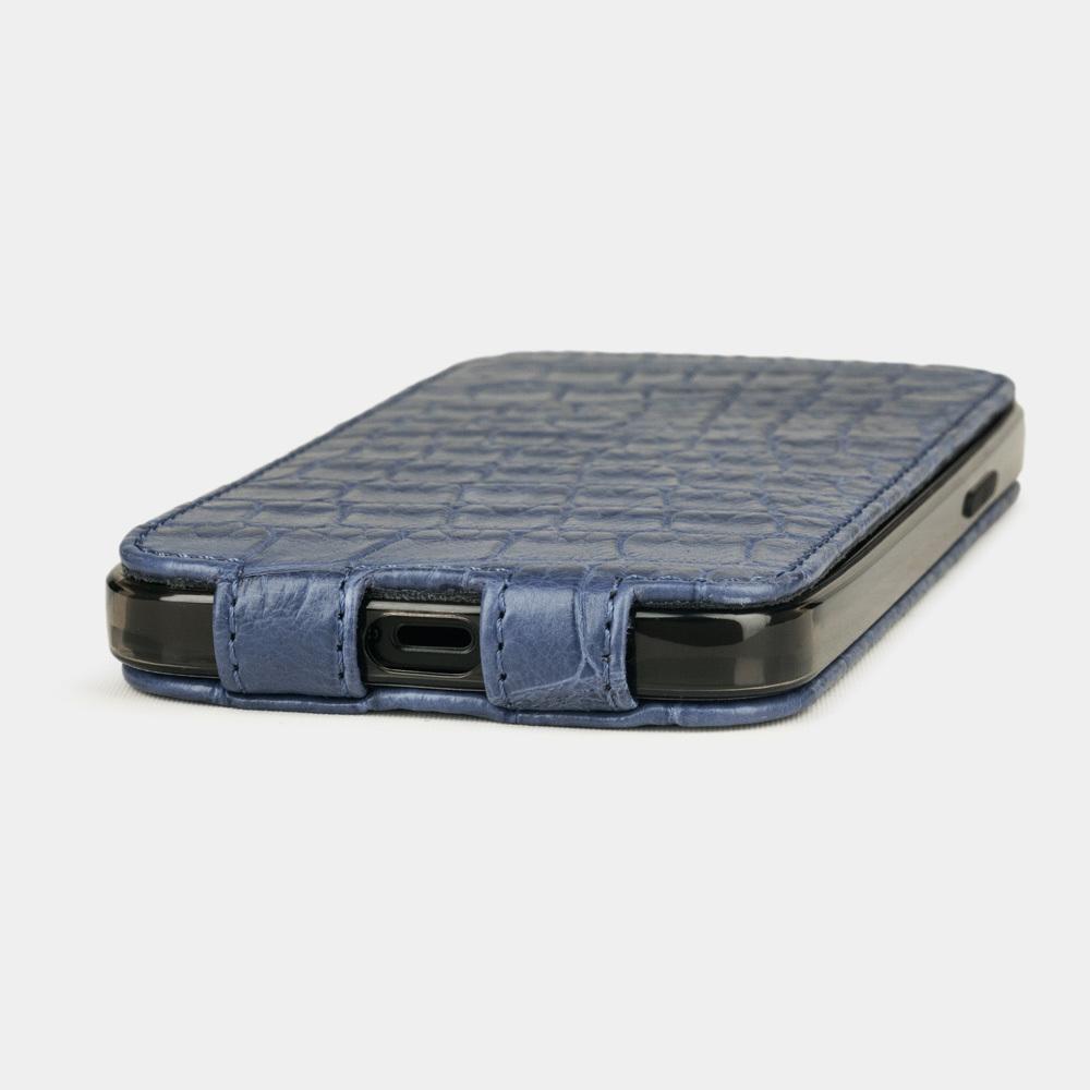 Special order: Чехол для iPhone 12/12Pro из натуральной кожи крокодила, голубого цвета