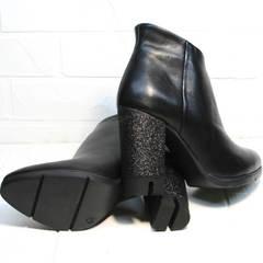 Ботильоны кожаные на каблуке Jina 5992 Black