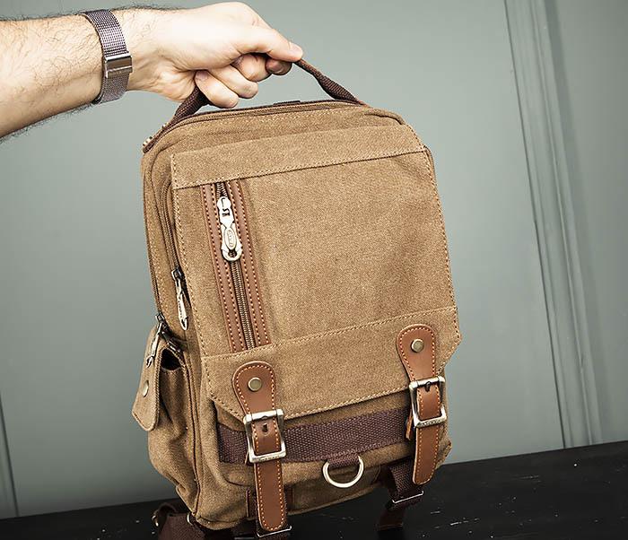 BAG394-2 Коричневый городской рюкзак с одной лямкой через плечо фото 12