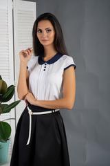 Ріта. Блуза з круглим коміром і складочками. Білий з синім