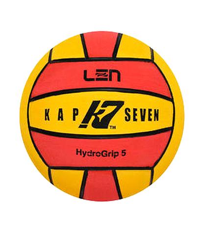 Официальный ватерпольный мяч KAP7 Official LEN Game Ball K7 5 yellow-red Размер 5 мужской арт.B-K7-LEN-50108